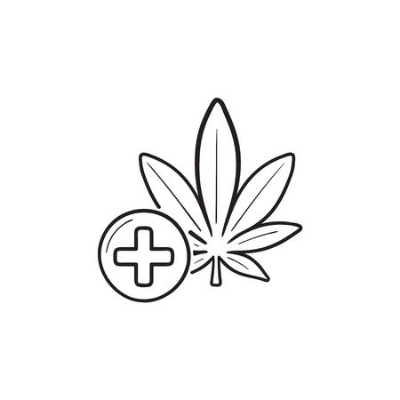 Medical marijuana hand drawn outline doodle icon. Illustration