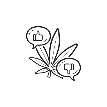 Cannabis bad and good effects with thumb up and down hand drawn outline doodle icon. Cannabis benefits concept. Vector sketch illustration for print, web, mobile and infographics on white background.