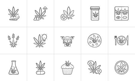 Esquema dibujado de la mano de marihuana doodle conjunto de iconos.