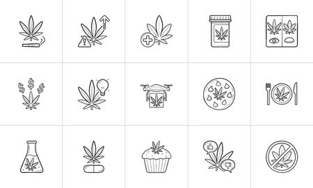 Marijuana hand drawn outline doodle icon set.