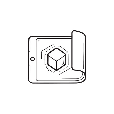 Smartphone with cube inside hand drawn outline doodle icon.