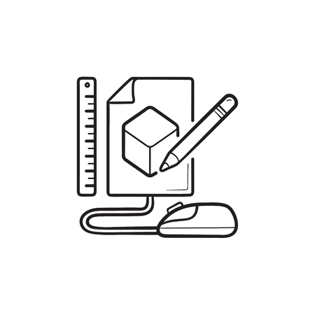Sketch of cube prototyping hand drawn outline doodle icon. Product model, design, software prototyping concept. Vector sketch illustration for print, web, mobile and infographics on white background.