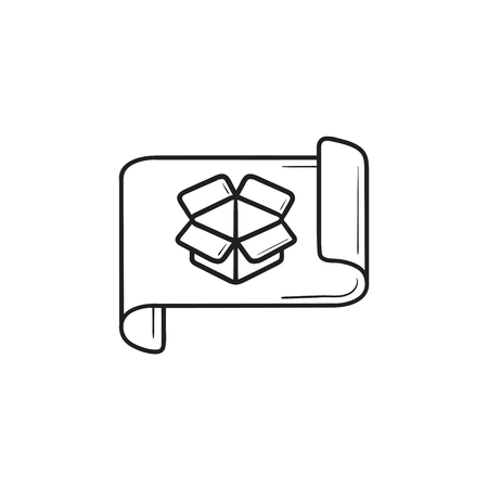 Graph paper with opened box sketch and prototyping hand drawn outline doodle icon. Ilustrace