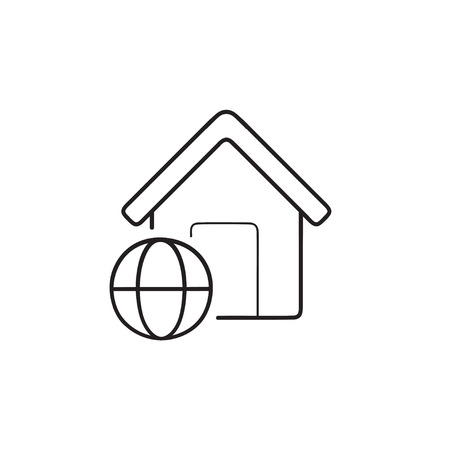 Smart home with internet access hand drawn outline doodle icon. Smart home automation technology concept. Vector sketch illustration for print, web, mobile and infographics on white background. Çizim