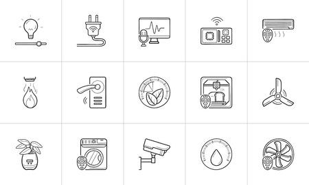 Smart home hand drawn outline doodle icon set. Illustration