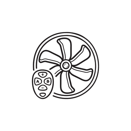 Smart fan hand drawn outline doodle icon.