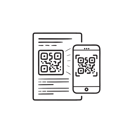 Mobile phone scanning QR code hand drawn outline doodle icon. Иллюстрация