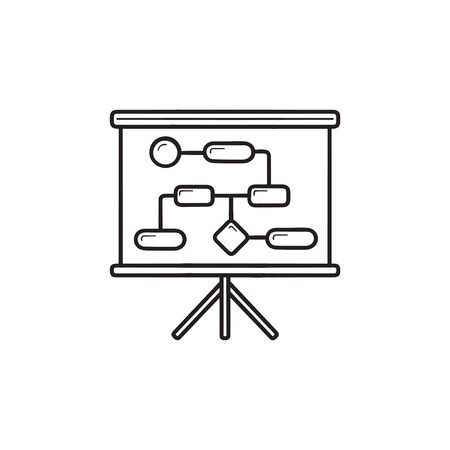 Workflow and planning hand drawn outline doodle icon. Business process modelling, strategy, tactics concept. Vector sketch illustration for print, web, mobile and infographics on white background.