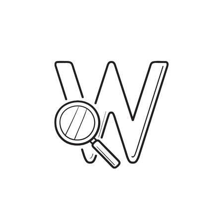 Domain Search with letter w and magnifier hand drawn outline doodle icon. Search engine, web search concept. Vector sketch illustration for print, web, mobile and infographics on white background. Illustration