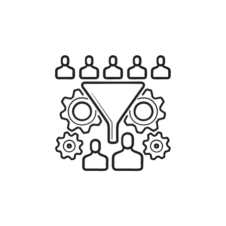 Conversion funnel with people and gears hand drawn outline doodle icon. Conversion rate optimization concept. Vector sketch illustration for print, web, mobile and infographics on white background.