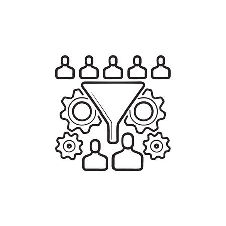 Embudo de conversión con personas y engranajes icono de doodle de contorno dibujado a mano. Concepto de optimización de la tasa de conversión. Ilustración de dibujo vectorial para impresión, web, móvil e infografía sobre fondo blanco.