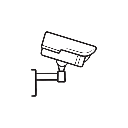 Security camera hand drawn outline doodle icon. CCTV camera, video record device, video surveillance concept. Vector sketch illustration for print, web, mobile and infographics on white background.
