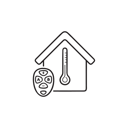 Adjusting smart home temperature remote hand drawn outline doodle icon. Home automation system concept. Vector sketch illustration for print, web, mobile and infographics on white background. Stock Illustratie