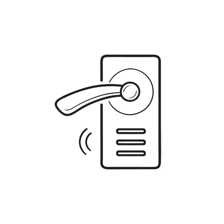 Wireless smart door lock hand drawn outline doodle icon. Smart lock system, wireless door handle concept. Vector sketch illustration for print, web, mobile and infographics on white background.