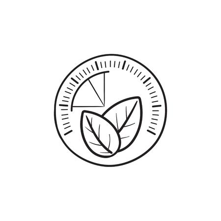 Speedometer with leaf hand drawn outline doodle icon. Illusztráció
