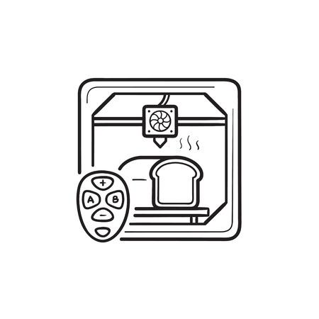 3D-Drucker, der Brot und Hand gezeichnetes Umriss-Doodle-Symbol mit Fernbedienung macht. Konzept der 3D-Drucktechnologie. Vektorskizzenillustration für Print, Web, Mobile und Infografiken auf weißem Hintergrund.