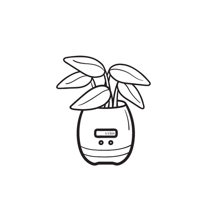 Plant growing in smart plant pot with sensor hand drawn outline doodle icon. Smart home plant pot concept. Vector sketch illustration for print, web, mobile and infographics on white background.