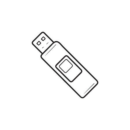 Pendrive hand drawn outline doodle icon. Flash drive, memory stick, usb pendrive, storage device concept. Vector sketch illustration for print, web, mobile and infographics on white background.