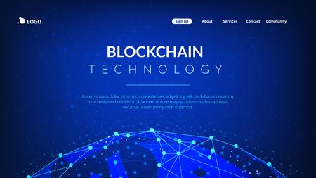 Blockchain technology futuristic hud banner with world globe. Illustration