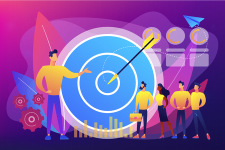 Big target, manager and employees engaged in company goals. Internal marketing, company goals promotion, employee engagement concept. Bright vibrant violet vector isolated illustration Illustration