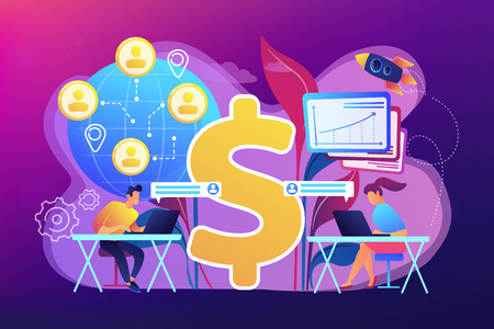 Team di venditori che lavora in remoto con clienti in tutto il mondo e simbolo del dollaro. Vendite virtuali, metodo di vendita a distanza, concetto di team di vendita virtuale. Illustrazione isolata di vettore viola vibrante luminoso