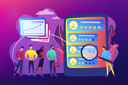Tiny people analyst observing the workers performance on tablet. Performance rating, employee work measurement, work efficiency feedback concept. Bright vibrant violet vector isolated illustration Ilustração