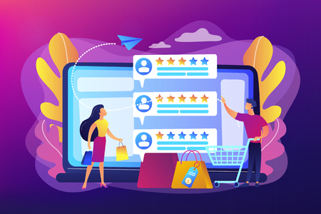 Tiny people customers rating online with reputation system program. Seller reputation system, top rated product, customer feedback rate concept. Bright vibrant violet vector isolated illustration Banco de Imagens - 124996365
