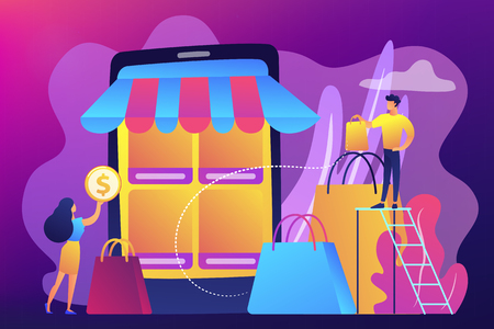 Tiny people customers with bags shopping online with smartphone. Mobile based marketplace, mobile e-shop app, online e-commerce marketplace concept. Bright vibrant violet vector isolated illustration