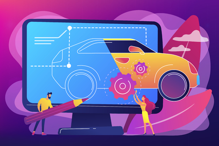 Industrial designers at computer drawing blueprint of modern car. Industrial design, product usability design, ergonomics development concept. Bright vibrant violet vector isolated illustration