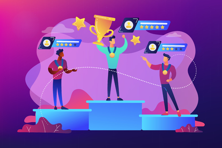 Tiny people winners sportsmen on podium with rating stars. Sports rating system, team player rating, competitive strength metrics concept. Bright vibrant violet vector isolated illustration