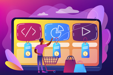 Customer with shopping cart buying digital service online. Digital service marketplace, ready digital solution, online marketplace framework concept. Bright vibrant violet vector isolated illustration Illustration