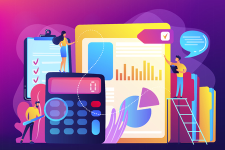 Tiny people auditors, accountant with magnifier during examination of financial report. Audit service, financial audit, consulting service concept. Bright vibrant violet vector isolated illustration Illustration