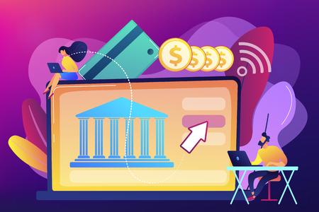 Ilustración de vector de concepto de plataforma de banca abierta.