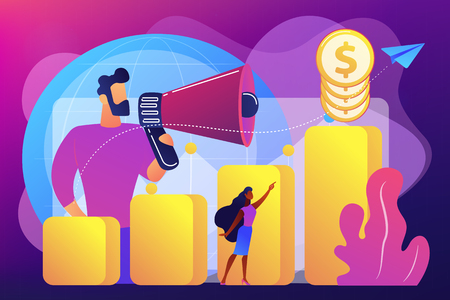 Economist with megaphone, economic growth column and market productivity chart. Economic development, world economy ranking, market economy concept. Bright vibrant violet vector isolated illustration