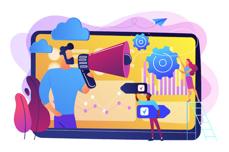 Tiny people, marketer with megaphone, consumers data analysis. Data driven marketing, consumer behaviour analysis, digital marketing trend concept. Bright vibrant violet vector isolated illustration Illustration