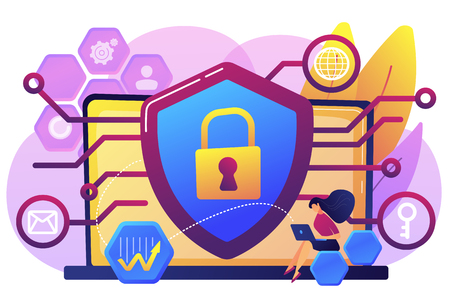 Privacy engineer at laptop with shield improving level of systems privacy. Privacy engineering, privacy-centric model, personal data defence concept. Bright vibrant violet vector isolated illustration