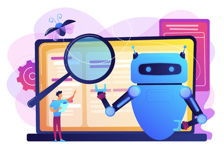 Controller reading regulations to robot. Artificial intelligence regulations, limitations in AI development, global tech regulations concept. Bright vibrant violet vector isolated illustration