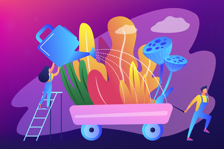 Landscape designer and gardener watering decorative plants on cart with water can. Landscape design, landscape planning, gardening services concept. Bright vibrant violet vector isolated illustration