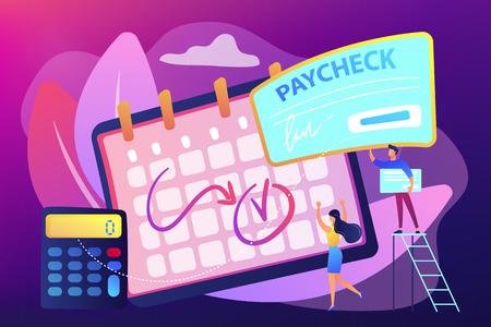 Kalender mit Zahltag, Taschenrechner und kleinen Geschäftsleuten, die einen Gehaltsscheck erhalten. Gehaltsscheck, Gehaltsabrechnung, Gehaltsabrechnungssoftwarekonzept. Helle, lebendige violette Vektor-isolierte Illustration