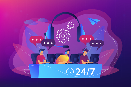 Customer service operators with headsets at computers consulting clients 24 for 7. Call center, handling call system, virtual call center concept. Bright vibrant violet vector isolated illustration Çizim