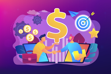B2B sales person selling products and services to buyer in laptop. Business-to-business sales, B2B sales method, wholesale business trend concept. Bright vibrant violet vector isolated illustration Иллюстрация