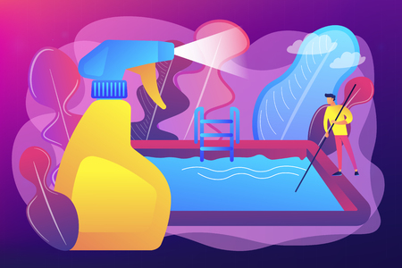 Swimming pool service worker with net cleaning water. Pool and outdoor cleaning, swimming pool service, outdoor cleaning company concept. Bright vibrant violet vector isolated illustration Imagens - 124971130