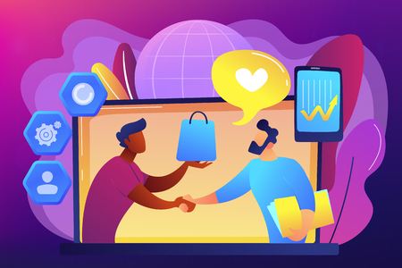 Manager shakes hands with customer, strategy for interactions with client. Customer relationship management, CRM system, CRM lead management concept. Bright vibrant violet vector isolated illustration Illustration