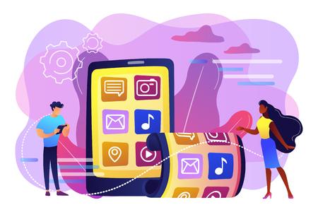 Ilustracja wektorowa koncepcja składany smartfon. Ilustracje wektorowe