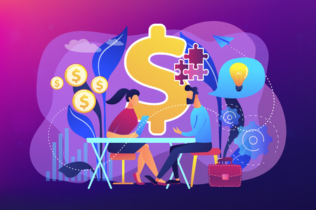 Salesperson suggesting a solution idea to consumers problem. Consultative sales, customer-oriented selling, trendy sales method concept. Bright vibrant violet vector isolated illustration Stock Illustratie