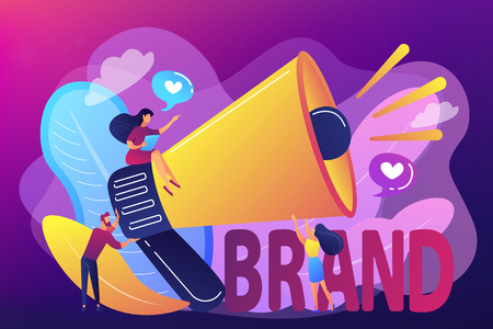 Marketers with megaphone conducting brand awareness campaign. Brand awareness, product research result, marketing survey metrics concept. Bright vibrant violet vector isolated illustration Illusztráció