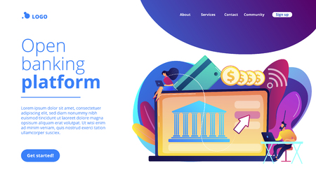 Tiny people with laptop and financial digital transformation. Open banking platform, online banking system, finance digital transformation concept. Website vibrant violet landing web page template.