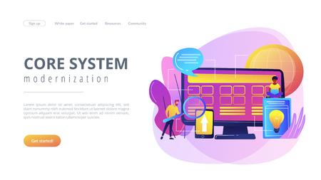 Core system development concept landing page. Ilustrace