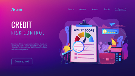 Tiny people analysts evaluating ability of prospective debtor to pay the debt. Credit rating, credit risk control, credit rating agency concept. Website vibrant violet landing web page template.
