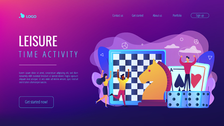 Entertainment of tiny people playing and winning chess, game cards and dice. Board game, leisure time activity, whole family activity concept. Website vibrant violet landing web page template. Ilustração Vetorial
